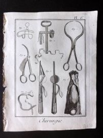 Diderot 1780's Antique Medical Print. Chirurgie 06 Surgical Instruments